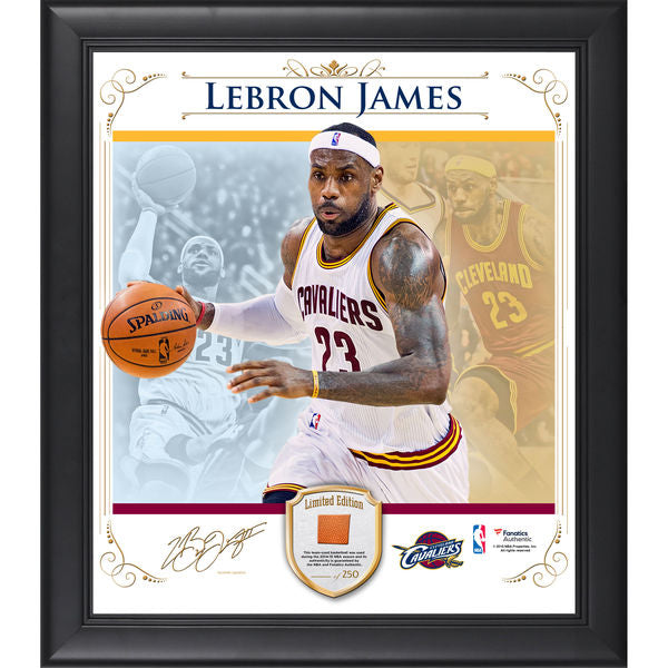 LeBron James Cleveland Cavaliers Framed 15'' x 17'' Photo Collage with Team Used Basketball- Limited Edition of 250
