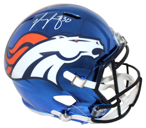 Phillip Lindsay Denver Broncos Chrome Broncos Helmet - Latitude Sports Marketing