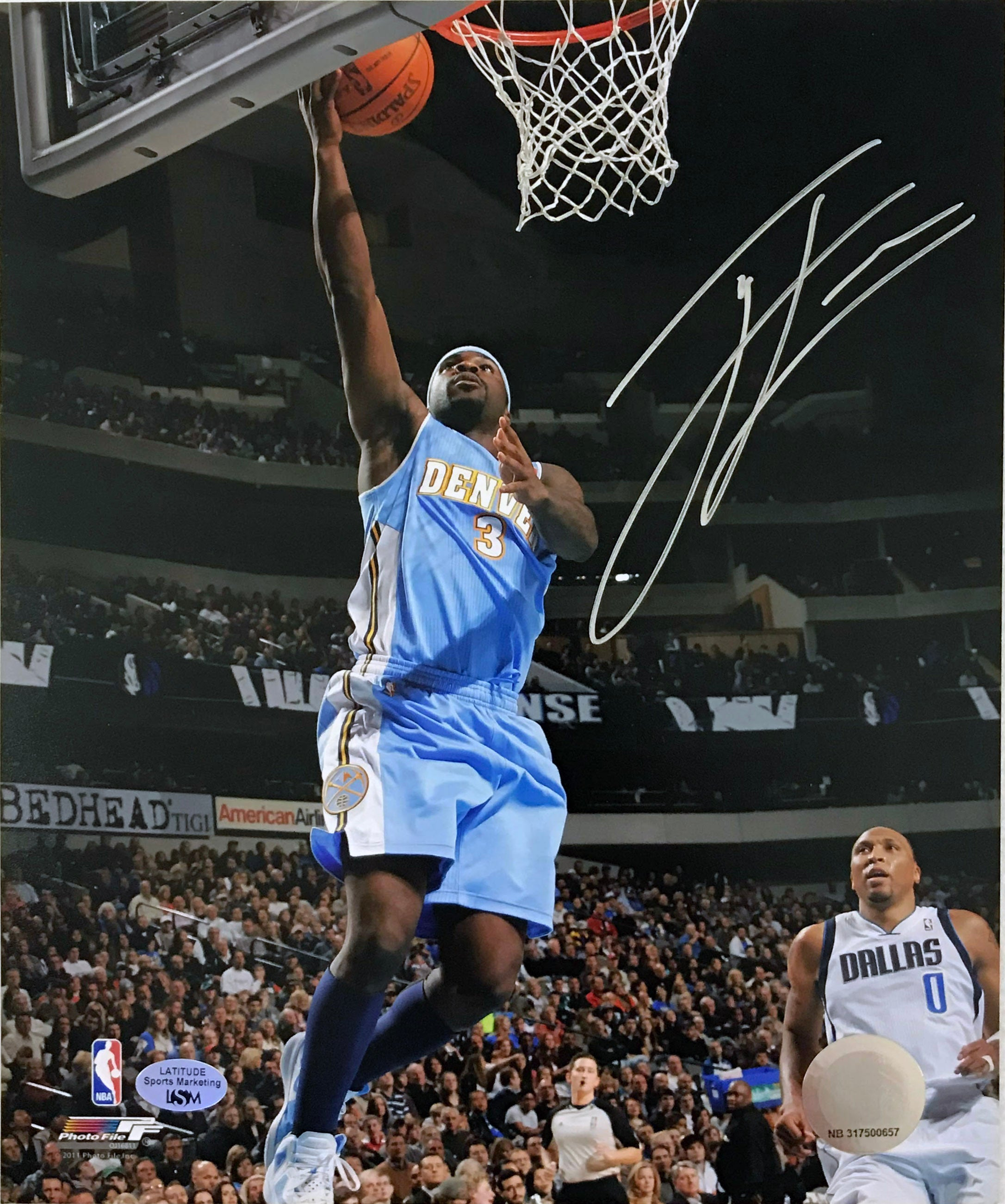 Ty Lawson Signed 8x10 Photo (Blue Uniform) (Blowout) - Latitude Sports Marketing
