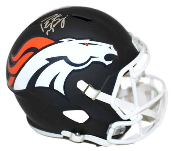 Peyton Manning Autographed Denver Broncos Black Matte Replica Helmet - Latitude Sports Marketing