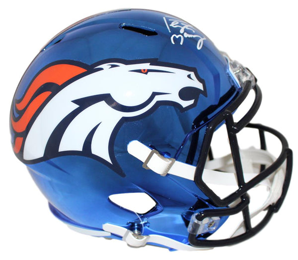 Peyton Manning Autographed Denver Broncos Chrome Replica Helmet - Latitude Sports Marketing
