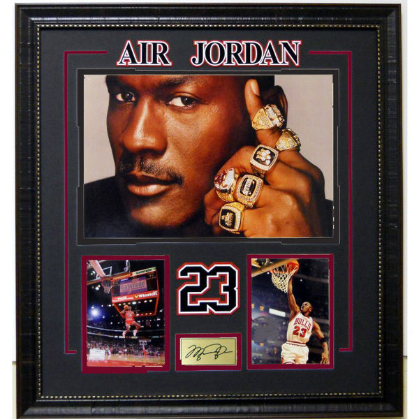 Michael Jordan Rings Collage with Laser Signature
