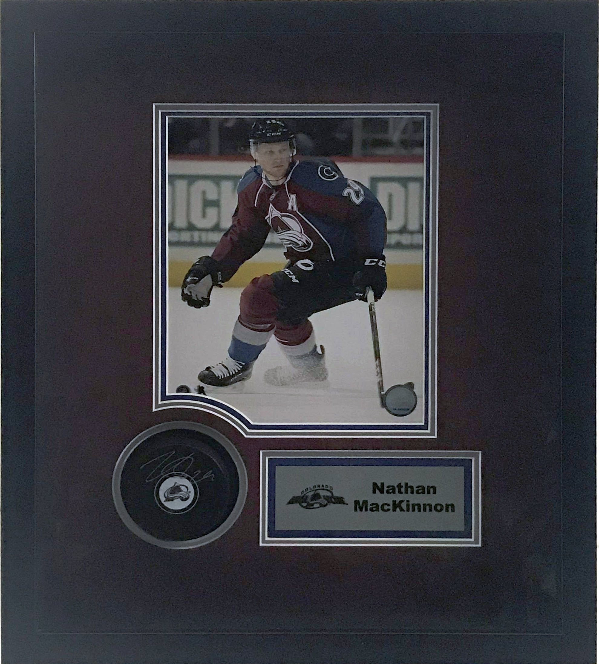 Nathan MacKinnon Autographed Avalanche Hockey Puck with Shadow Box