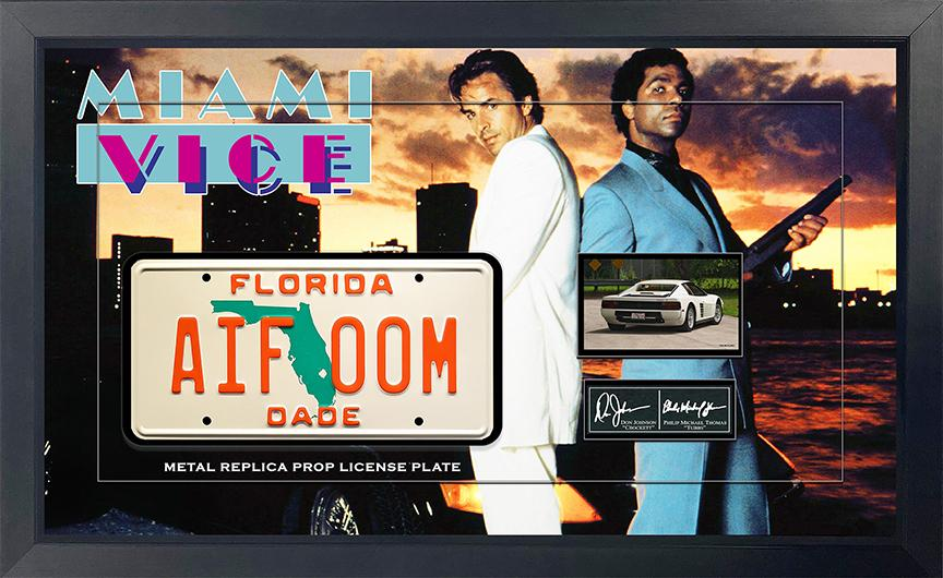 Miami Vice Replica Metal Prop License Plate Framed