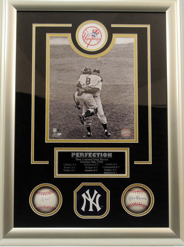 Yankees WS Yogi Berra and Don Larsen Signed 14x20 Shadowbox - Latitude Sports Marketing