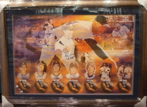 Nolan Ryan Signed Litho Framed 7 No Hitter signed by his Catcher - Latitude Sports Marketing