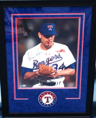 "Nolan Ryan Signed 16x20 w/ Deluxe Frame ""T"" Logo - Latitude Sports Marketing"