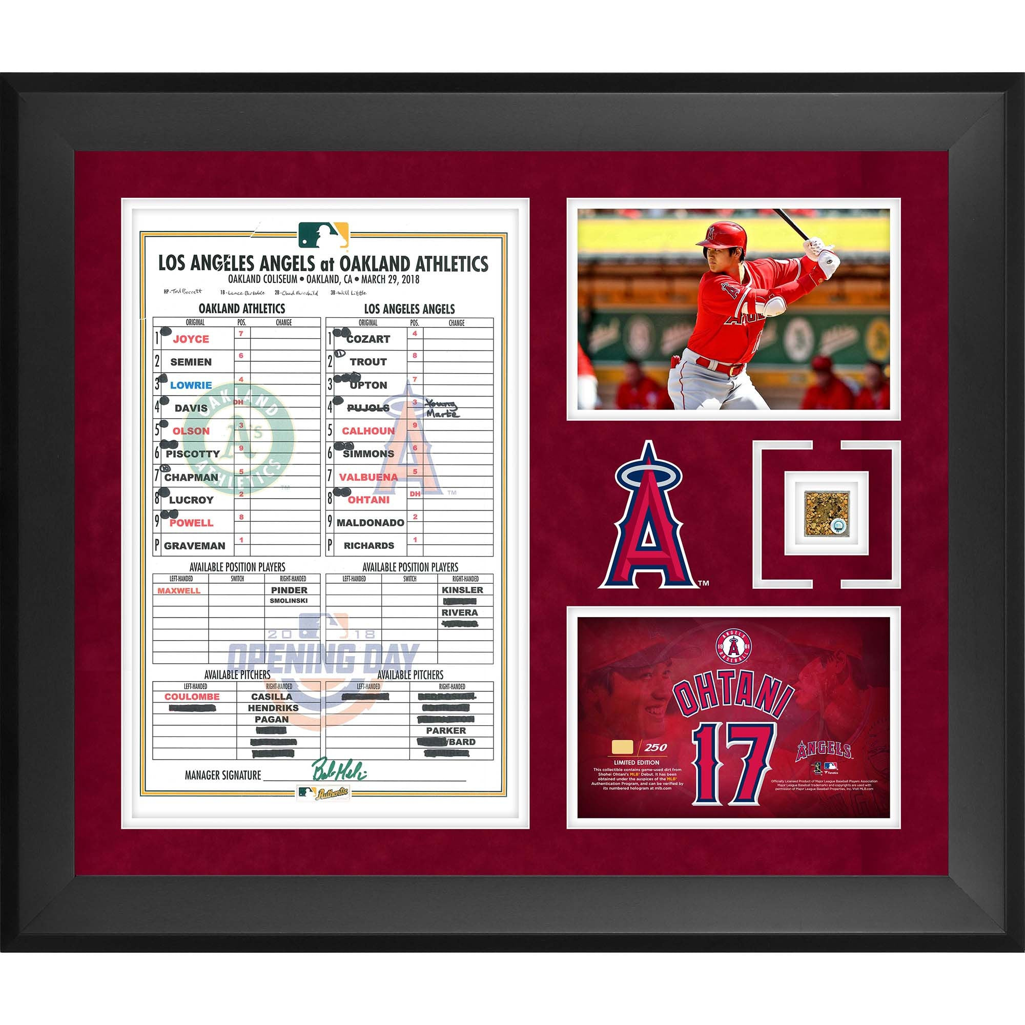 "Shohei Ohtani Los Angeles Angels Framed 20"" x 24"" MLB Debut Collage with a Replica Lineup Card Scan and Capsule of Game-Used Dirt from MLB Debut"
