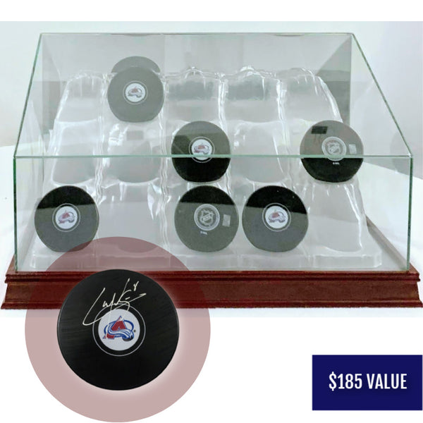 Cale Makar Signed Hockey Puck w/ Glass 15 Hockey Puck Mahogany Display Case