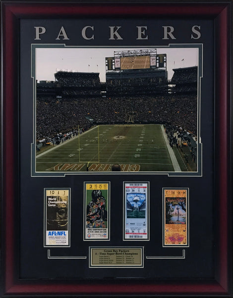 Green Bay Packers Framed Ticket Collage