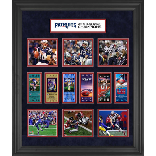 New England Patriots Framed 6-Time Super Bowl Champion Ticket Collage