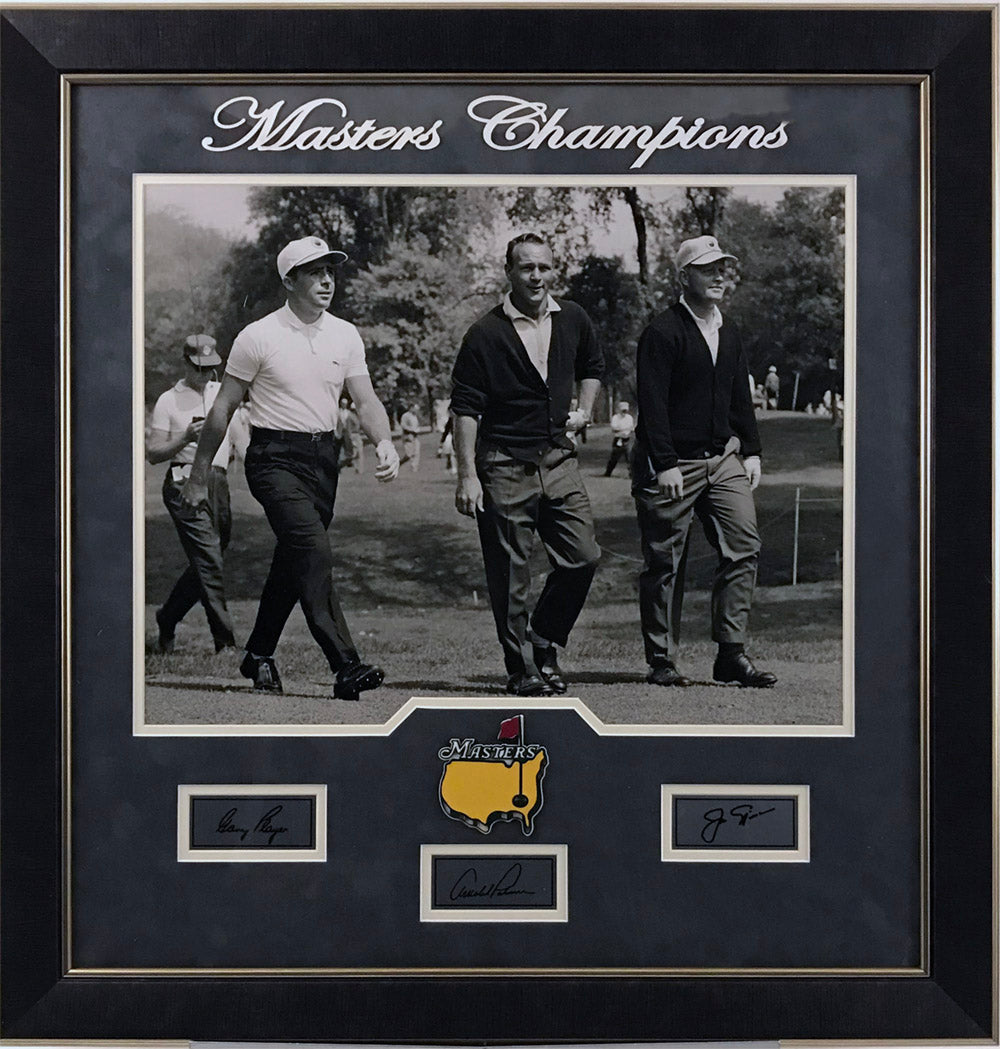 Player, Nicklaus, and Palmer 16x20 with Laser Signatures Framed