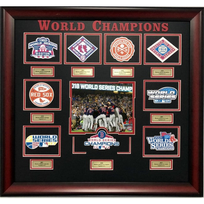 Boston Red Sox World Series Collage with Patches - Latitude Sports Marketing