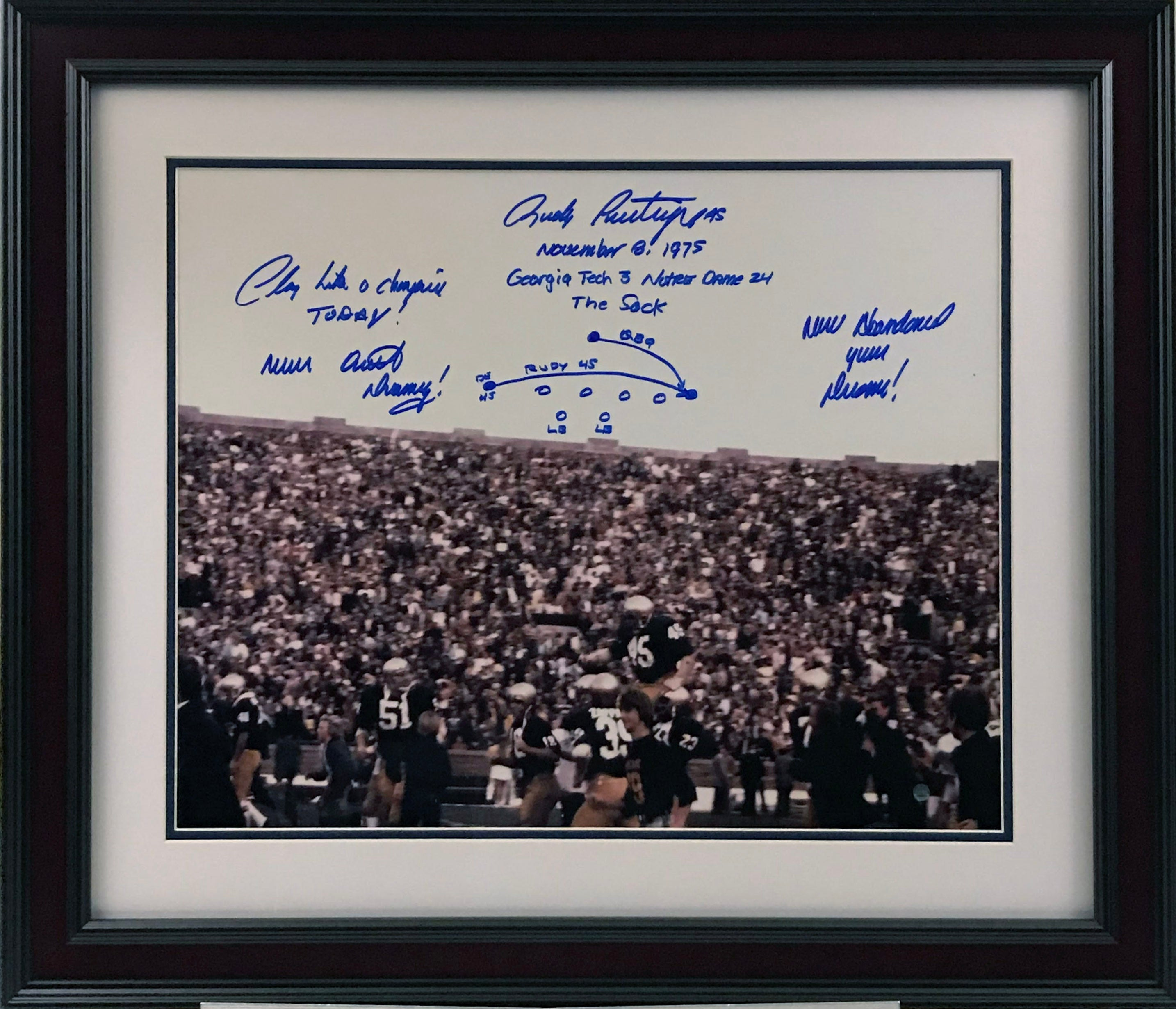 Rudy Ruettiger Signed Carried off Field 16x20 Photo w/ Drawn Play and Inscriptions