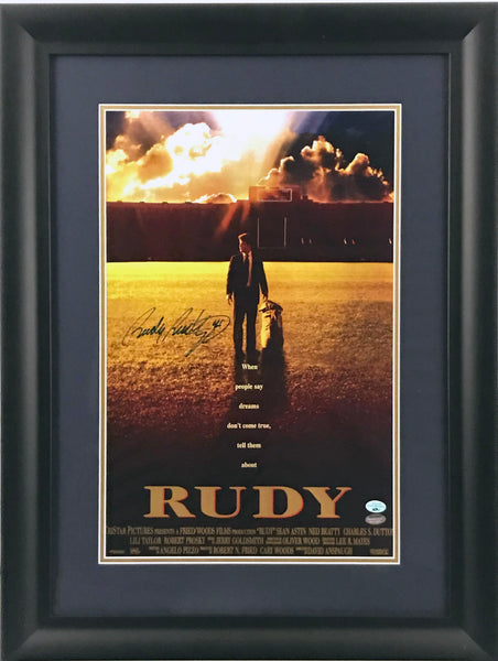 Rudy Ruettiger Signed and Framed  'Rudy' Movie Poster