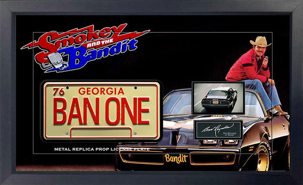 Smokey And The Bandit Movie Replica Metal Prop License Plate Framed