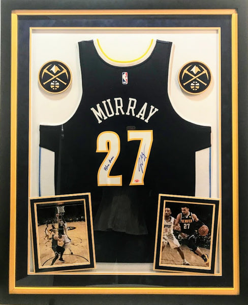 Jamal Murray Signed Jersey with Inscription - Deluxe Frame (2 Logos)