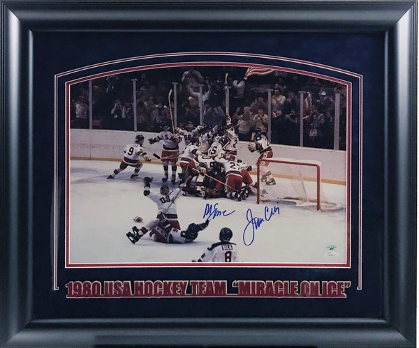 Jim Craig & Mike Eurozione Dual Signed Team USA 16x20 Photo with Deluxe Frame