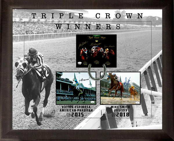 Triple Crown Winners Jockey Hand-Signed Masterpiece Framed JSA COA