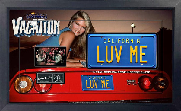Vacation Luv Me Movie Metal Prop License Plate Framed