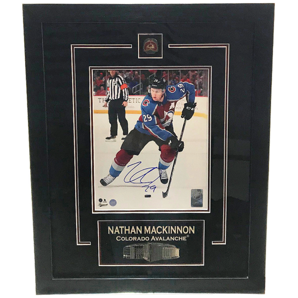 Nathan MacKinnon Signed 8x10 Photo & Pin Etched Matting Framed LSM FRAMEWORTH COA
