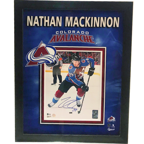 Nathan MacKinnon Signed 8x10 Photo Framed w/ Avalanche Logo LSM FRAMEWORTH COA