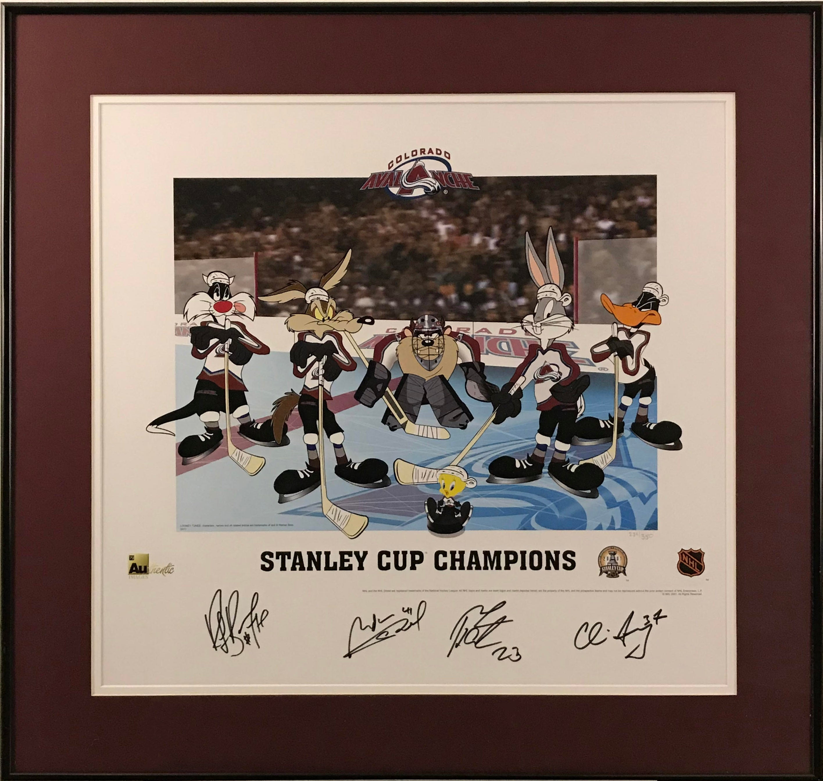 Colorado Avalanche Stanley Cup Champions Multi Signed Looney Toons Lithograph - Latitude Sports Marketing