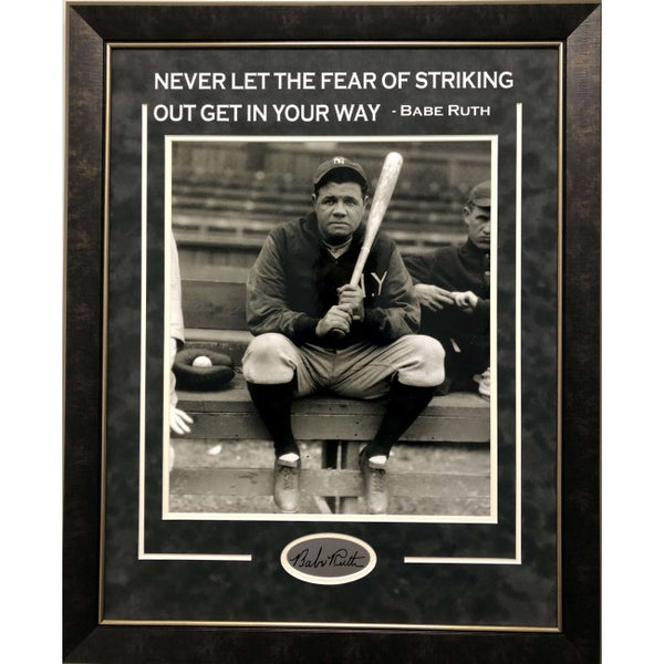 Babe Ruth Framed 16x20 Photo with Quote and Laser Signature