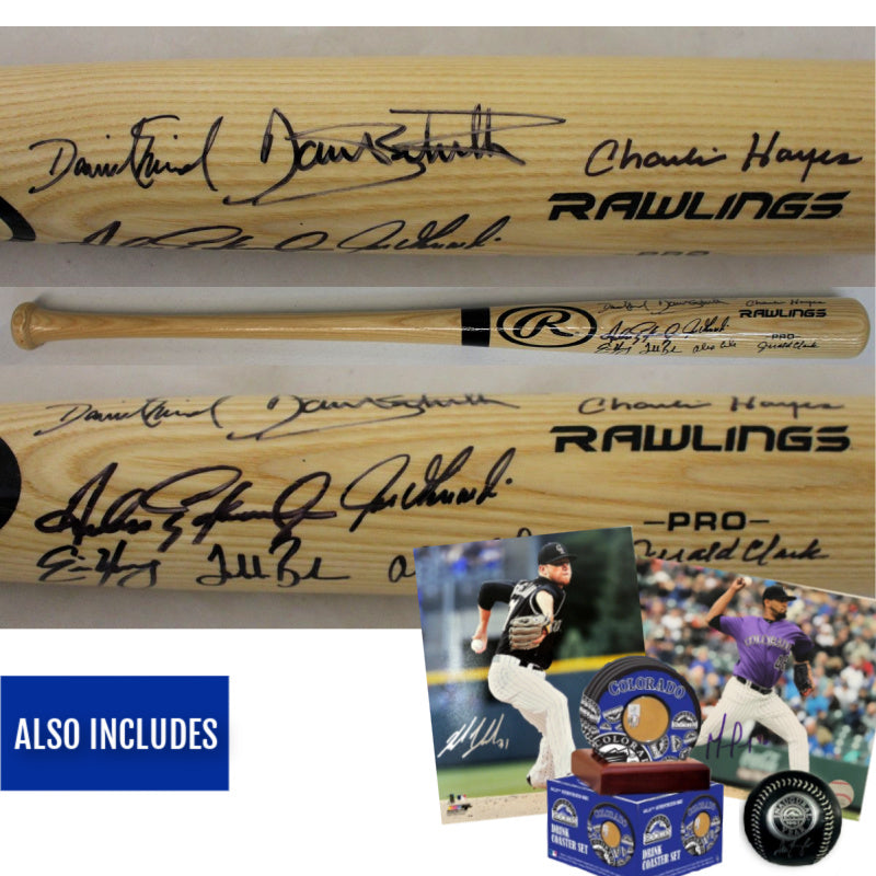 1993 Colorado Rockies Team Signed Rawlings Blonde Baseball Bat Package