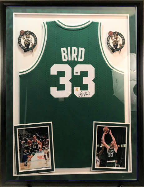 Larry Bird Signed Celtics Framed Jersey