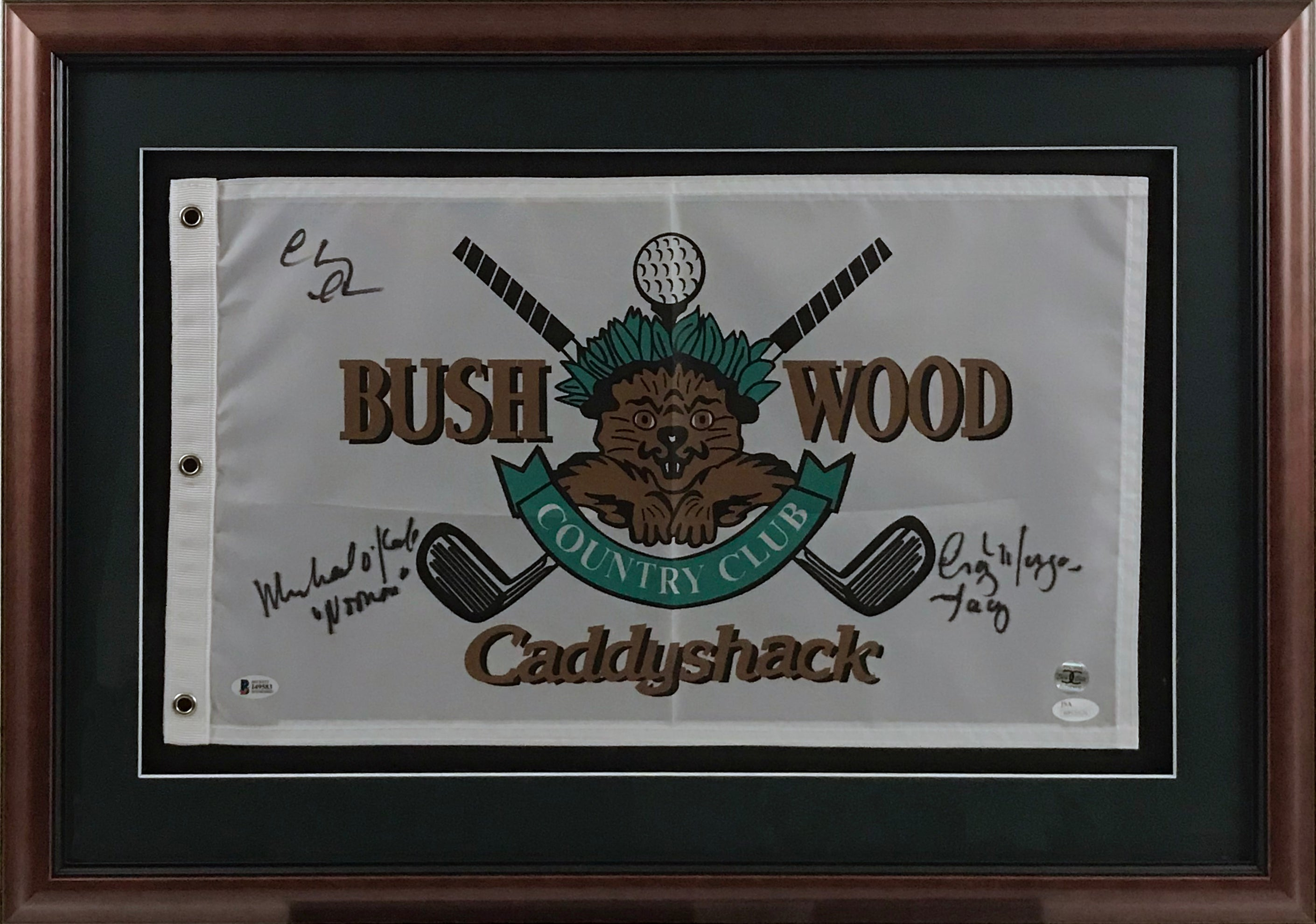 Framed Bushwood Caddyshack Flag Signed by Chase, Morgan, and O'Keefe - Latitude Sports Marketing