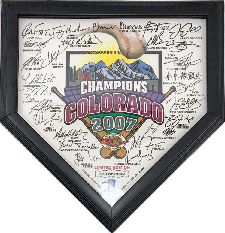 Colorado Rockies Ltd. Edition Framed Home Plate w/ Facsimile Signatures - Latitude Sports Marketing