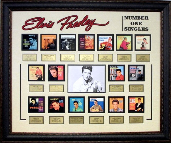 Elvis Presley #1 Hits Mini Record Album Framed Collage - Latitude Sports Marketing