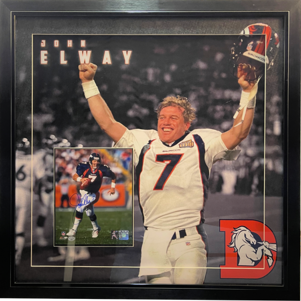 John Elway Signed 8x10 Photo w/ 3D Large Photo Deluxe Framing LSM COA