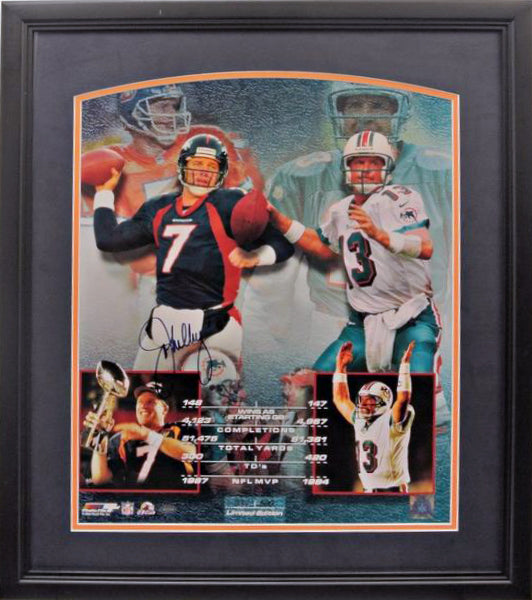 John Elway and Dan Marino Framed 16x20 Photo - Signed by John Elway (Blowout)