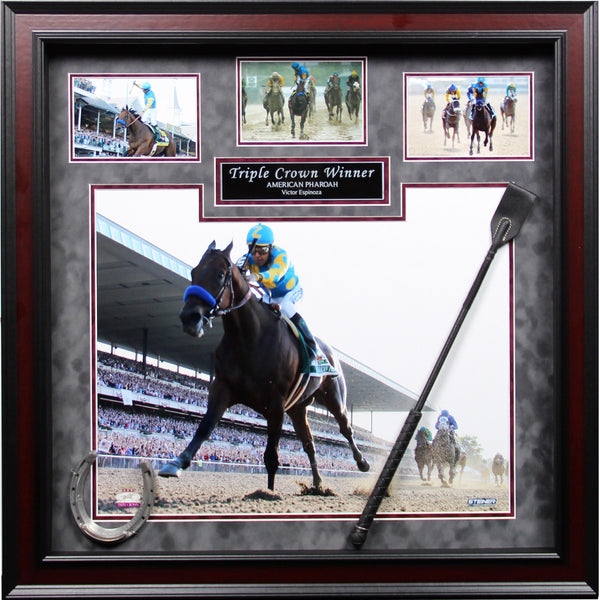 Espinoza & American Pharoah 20x24 Framed Collage w/whip and shoe - Latitude Sports Marketing