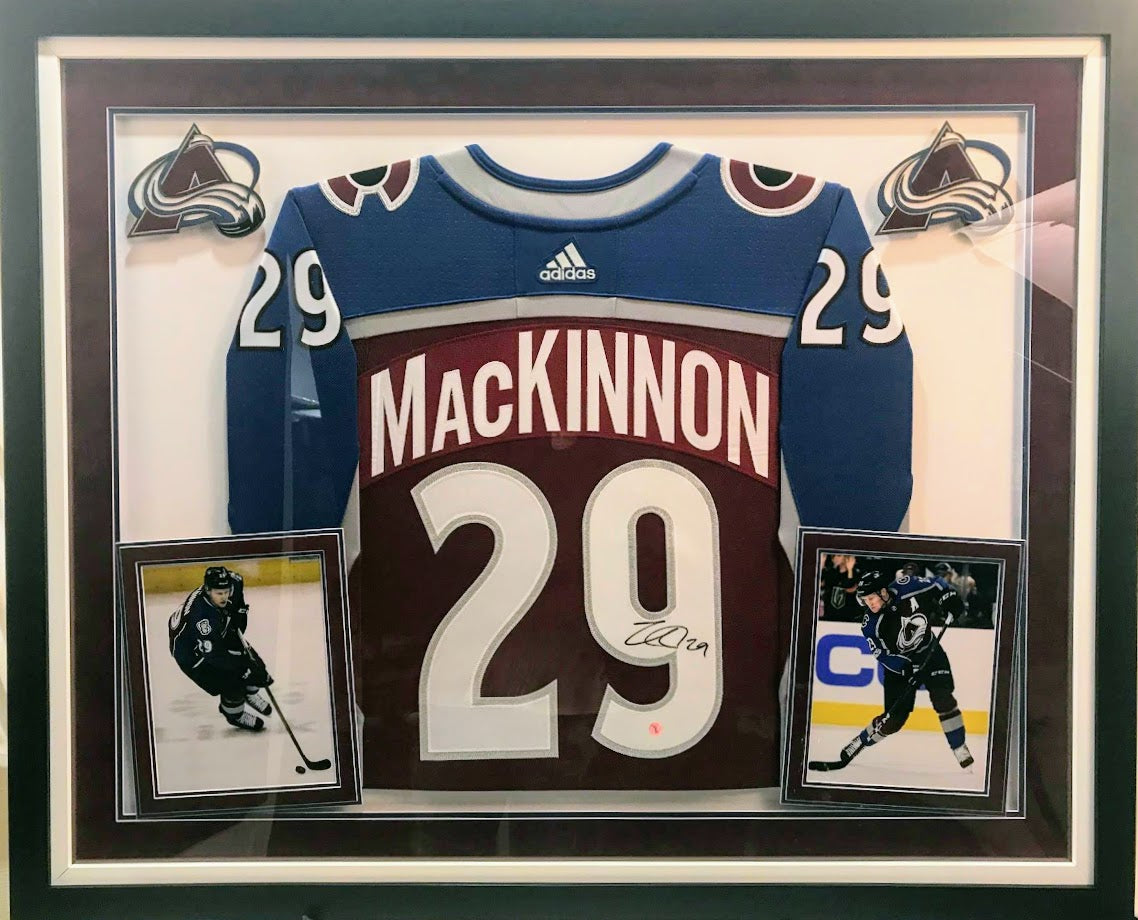 Nathan MacKinnon autographed Avs Burgundy Jersey Framed - Latitude Sports Marketing