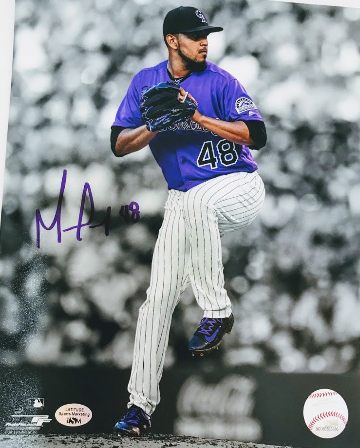 German Marquez Signed Black/White/Purple 8x10 - Latitude Sports Marketing