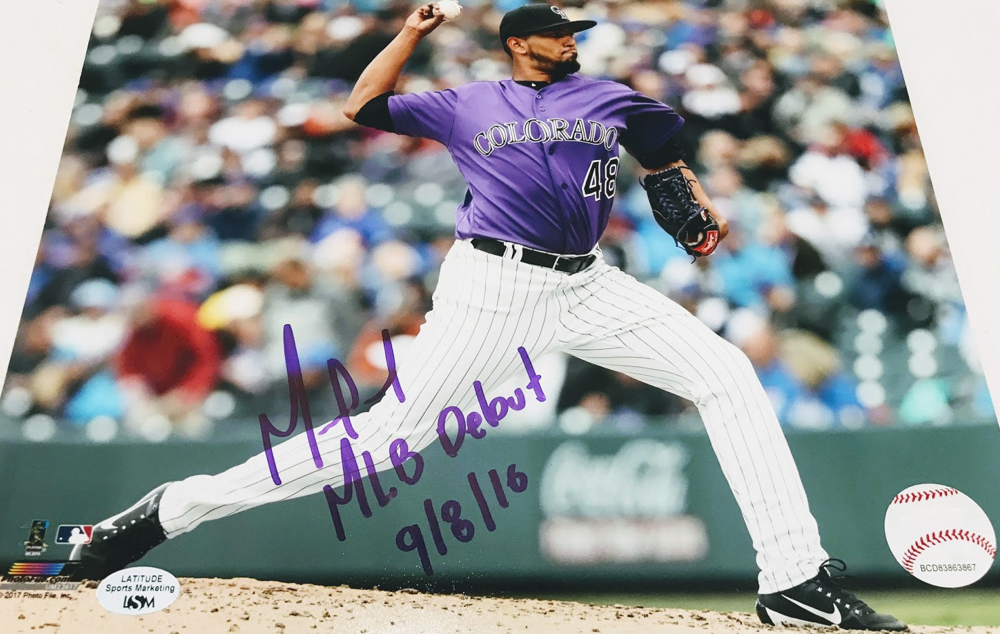 German Marquez Signed MLB Debut 9/8/16 8x10 - Latitude Sports Marketing