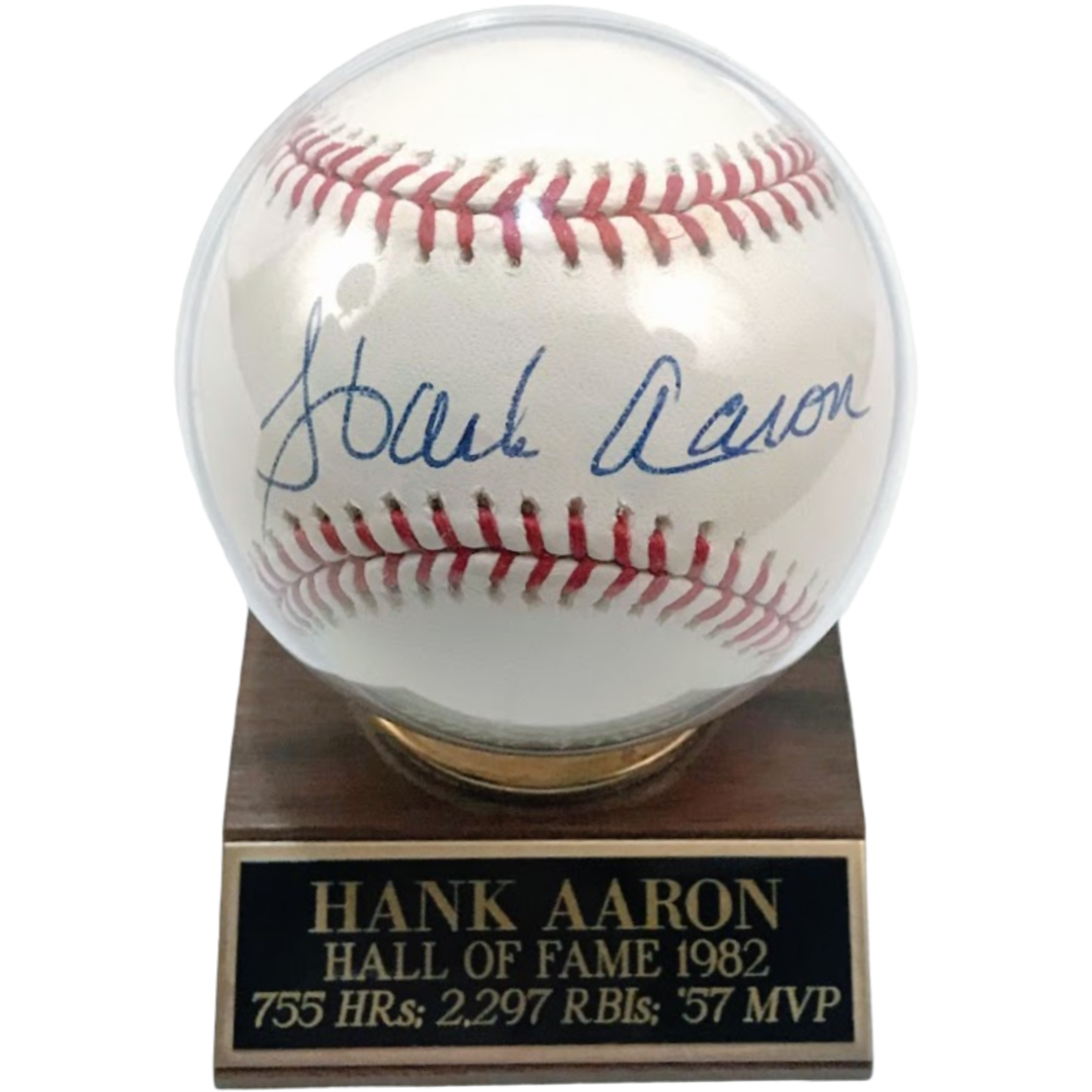 Hank Aaron Autographed Baseball w/ Case - Latitude Sports Marketing