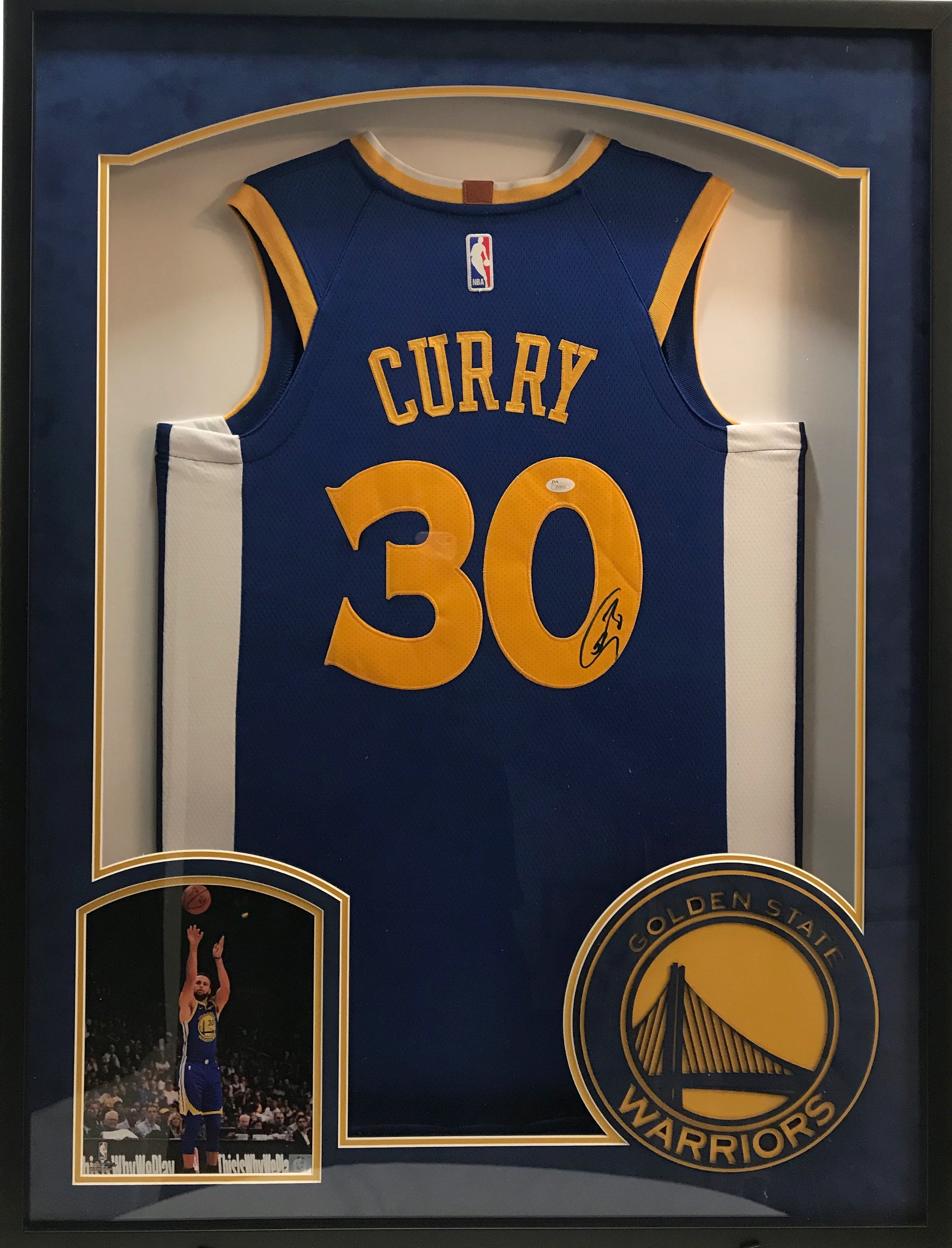 Stephen Curry Autographed Jersey in Shadow Box with Logo - Latitude Sports Marketing