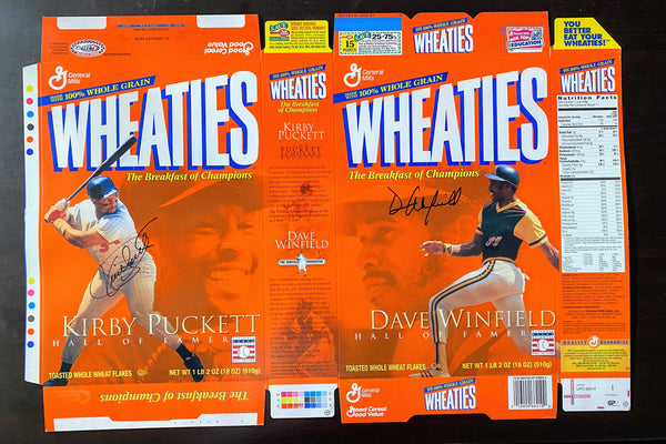 Kirby Puckett and Dave Winfield Dual Signed Hall of Famers Wheaties Box LSM COA