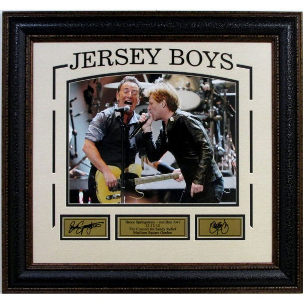 Jersey Boys - Bruce Springsteen and Bon Jovi with laser signatures framed