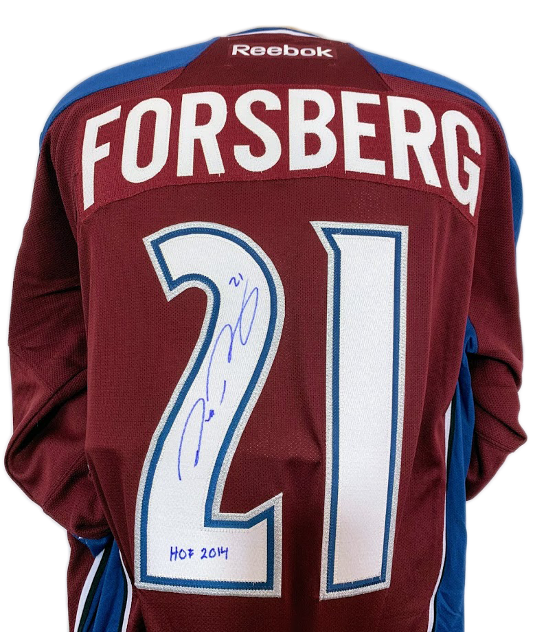 Peter Forsberg autographed Colorado Avalanche Burgundy Jersey w/ HOF Inscription LSM COA - Latitude Sports Marketing