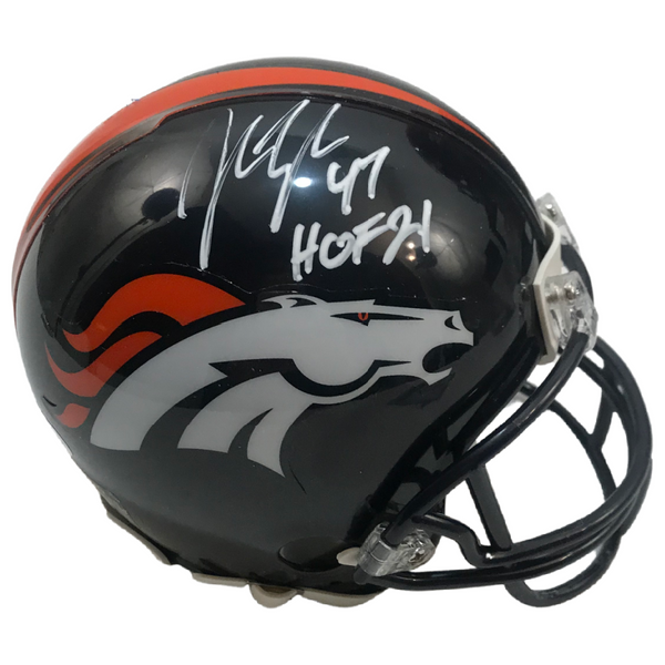 "John Lynch Signed & Inscribed ""HOF 21"" Denver Broncos Mini Helmet LSM Beckett COA"