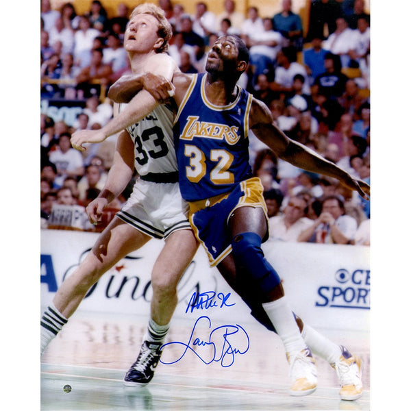 Magic Johnson and Larry Bird Dual Signed Posting Up 16x20 Photo