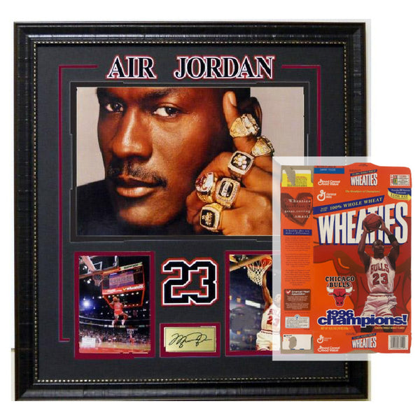 Michael Jordan Rings Collage with Laser Signature w/ Wheaties Box Package