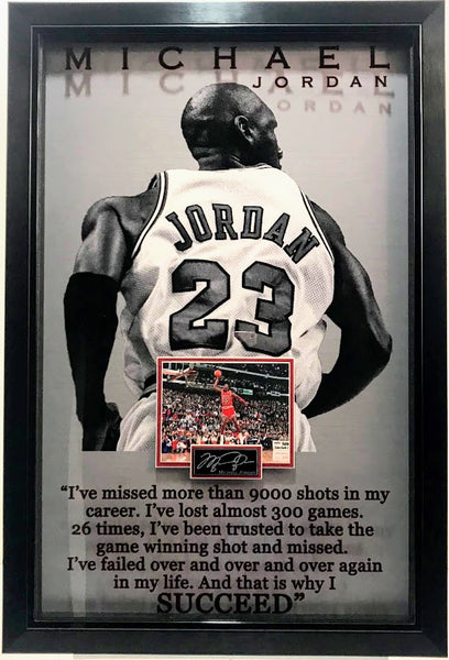 """Air Jordan"" Michael Jordan Laser Engraved Signature Photo Framed with Quote"