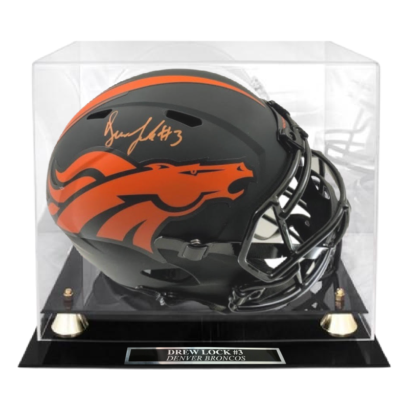 Drew Lock Signed Denver Broncos Eclipse Helmet w/ Display Case