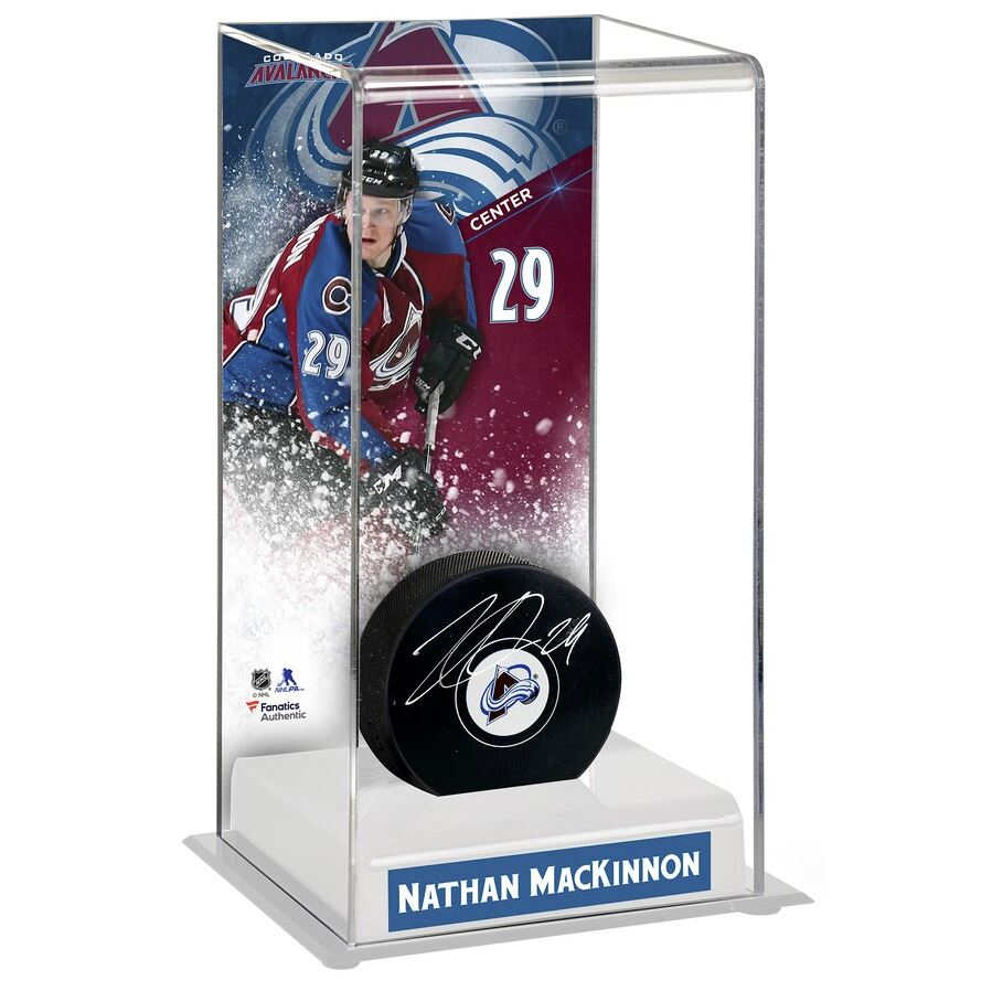 Nathan MacKinnon Signed Colorado Avalanche Logo Hockey Puck with Deluxe Tall Case - Latitude Sports Marketing